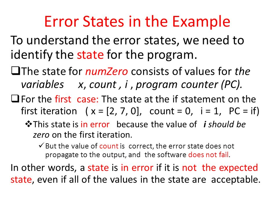 Error States in the Example