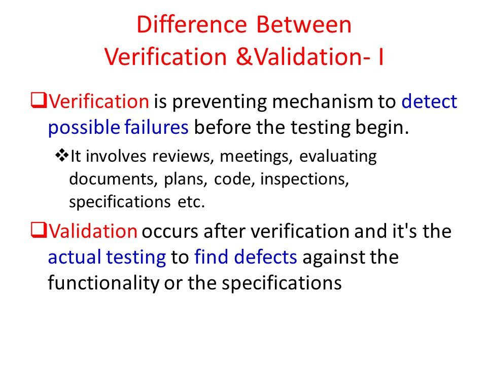 Difference Between Verification &Validation- I