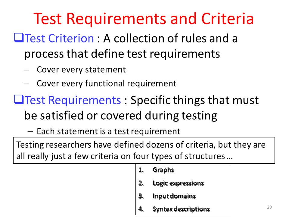 Test Requirements and Criteria