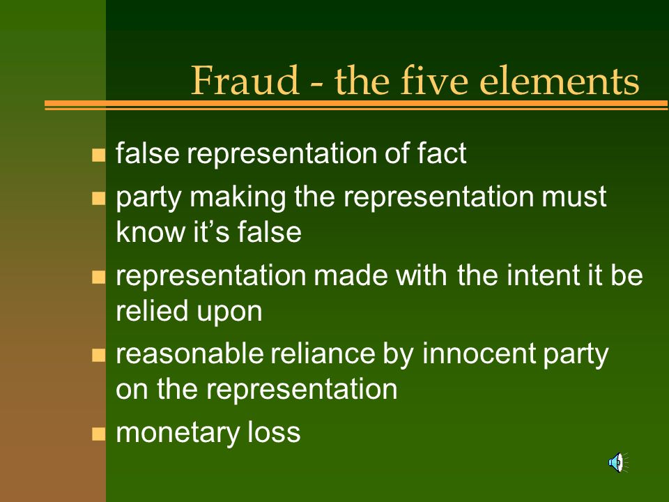 Fraud - the five elements