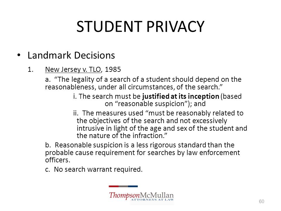 Reasonable Suspicion School Searches School Law: Technology...