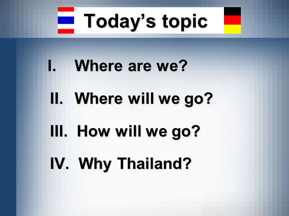 Today's topic I. Where are we II. Where will we go