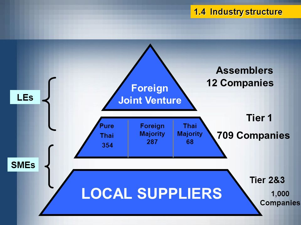 LOCAL SUPPLIERS Foreign Joint Venture Assemblers 12 Companies Tier 1