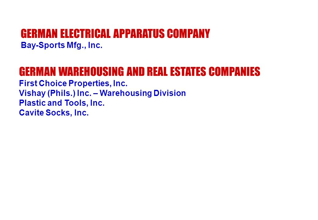 GERMAN ELECTRICAL APPARATUS COMPANY