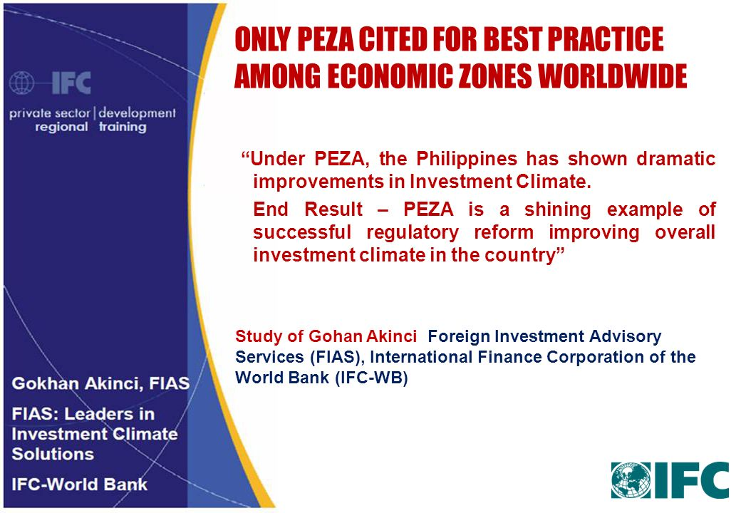 ONLY PEZA CITED FOR BEST PRACTICE AMONG ECONOMIC ZONES WORLDWIDE