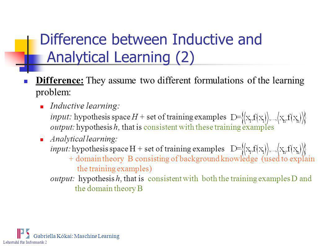 Difference between Inductive and Analytical Learning (2)