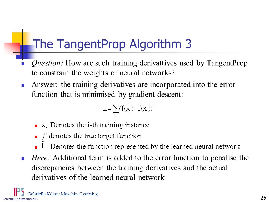 The TangentProp Algorithm 3