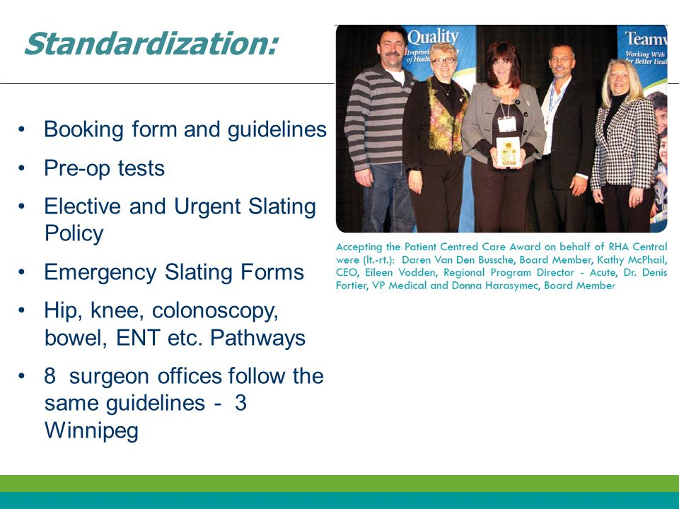 Standardization: Booking form and guidelines Pre-op tests