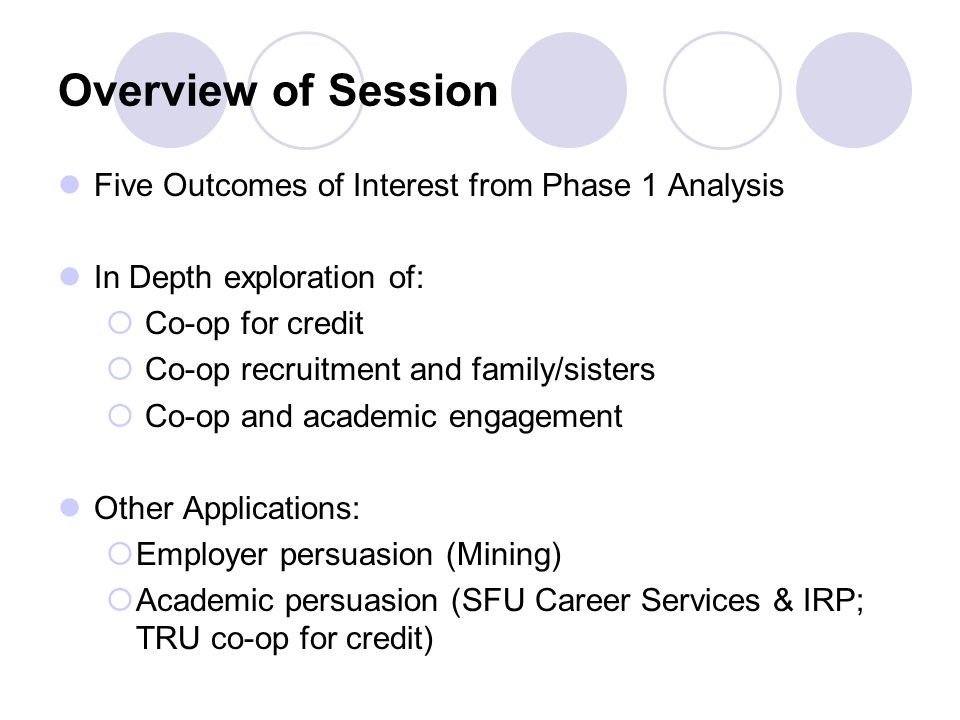 Overview of Session Five Outcomes of Interest from Phase 1 Analysis