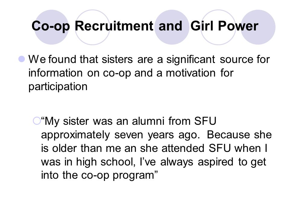 Co-op Recruitment and Girl Power