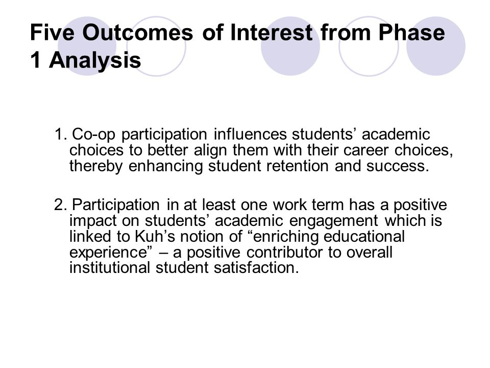 Five Outcomes of Interest from Phase 1 Analysis