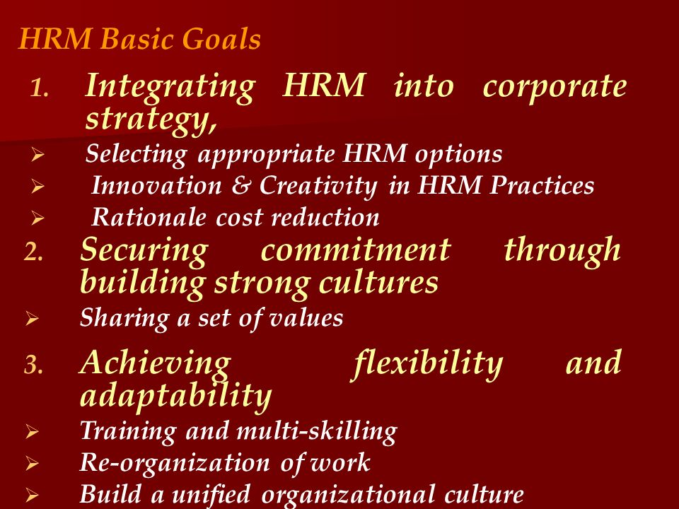 Integrating HRM into corporate strategy,