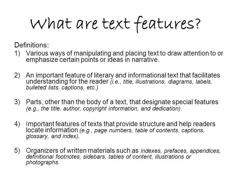 What are text features Definitions: