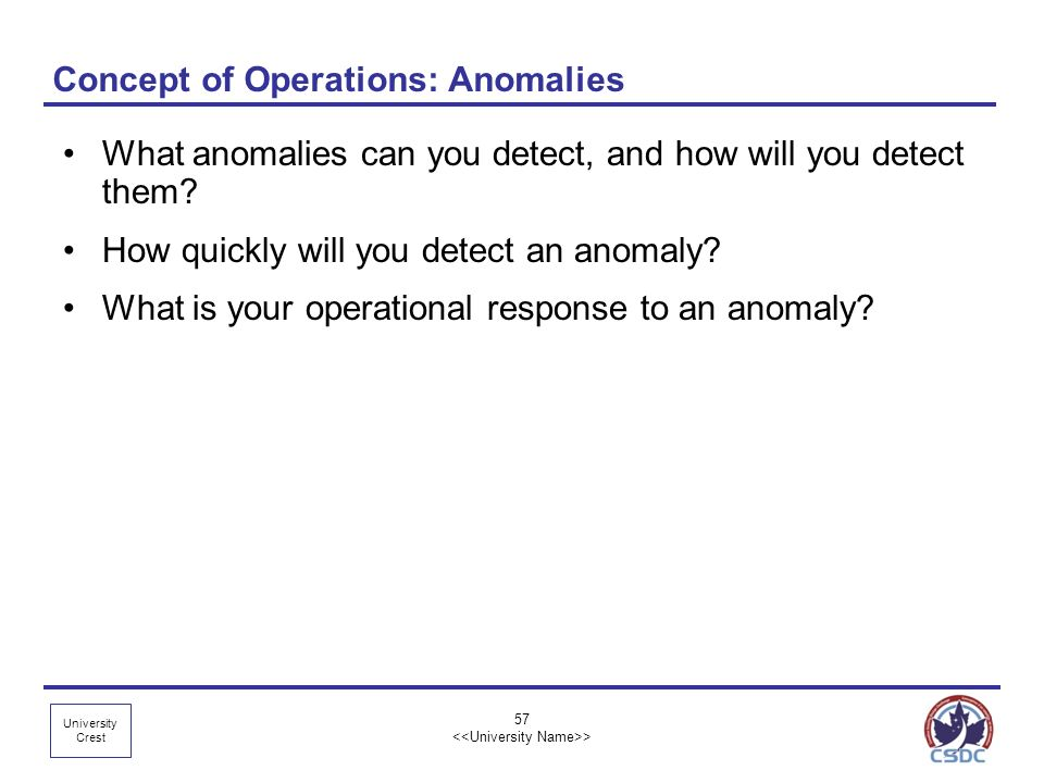 Concept of Operations: Anomalies