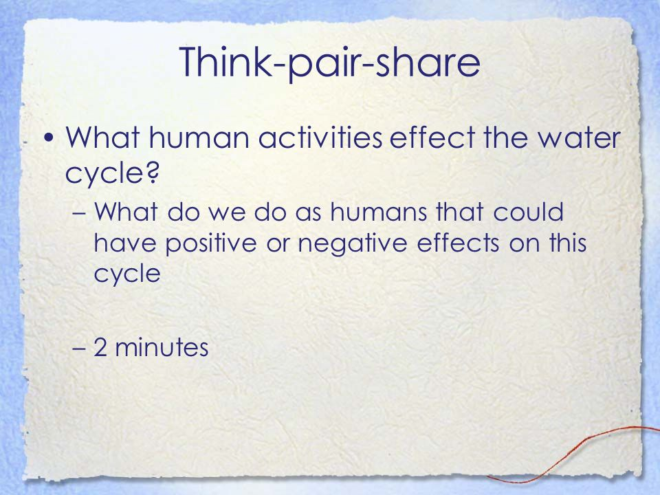 Think-pair-share What human activities effect the water cycle