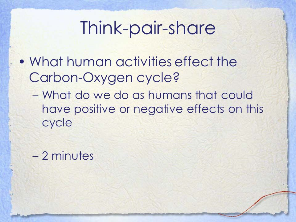 Think-pair-share What human activities effect the Carbon-Oxygen cycle