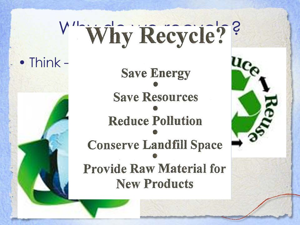 Why do we recycle Think – Pair - Share