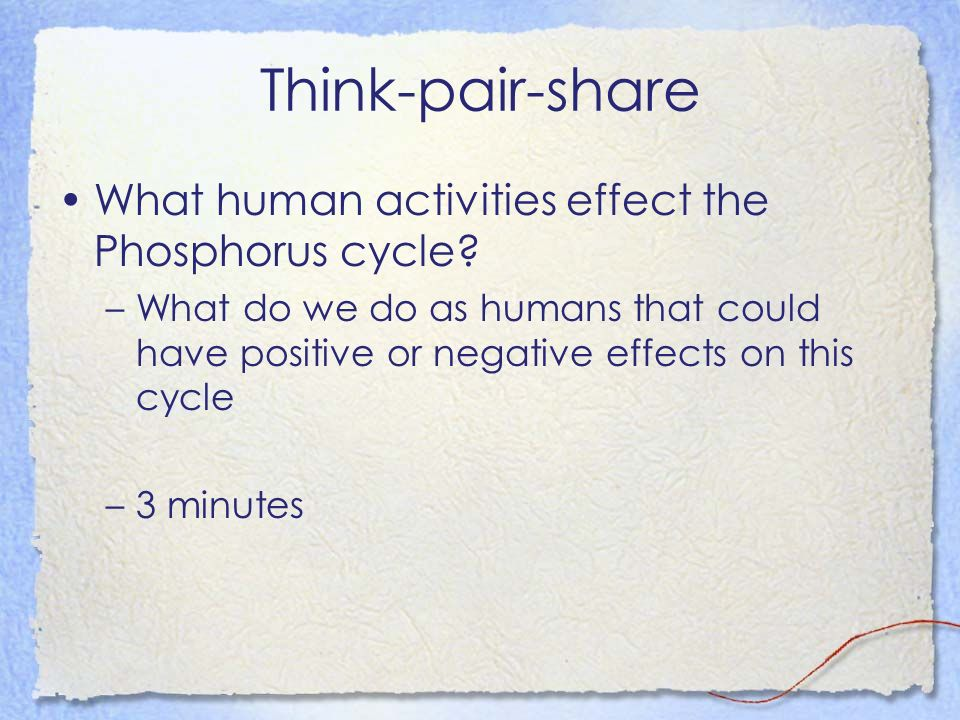 Think-pair-share What human activities effect the Phosphorus cycle