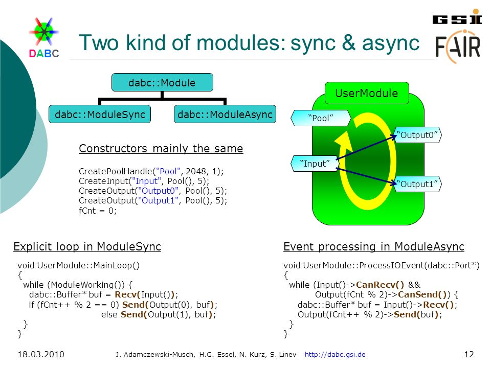 Two kind of modules: sync & async