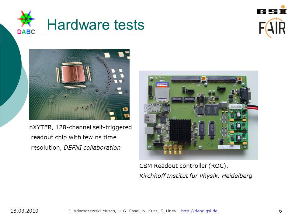 Hardware tests nXYTER, 128-channel self-triggered