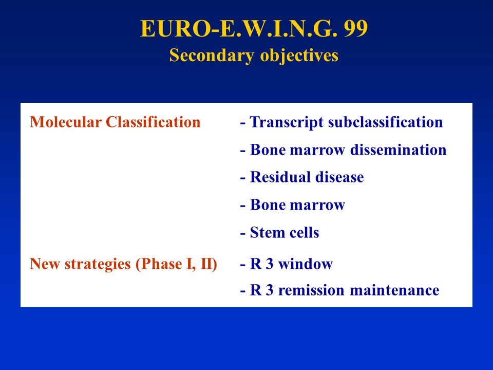 EURO-E.W.I.N.G. 99 Secondary objectives