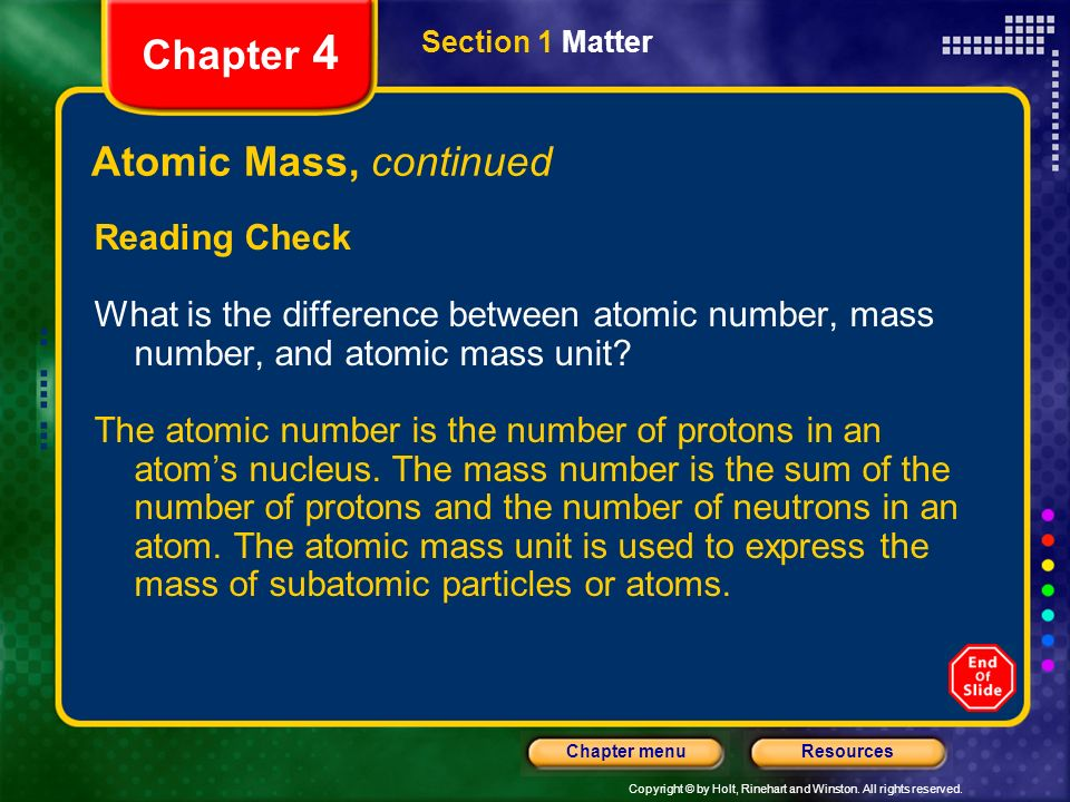 Chapter 4 Atomic Mass, continued Reading Check