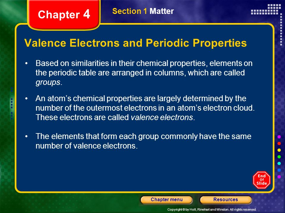 Valence Electrons and Periodic Properties