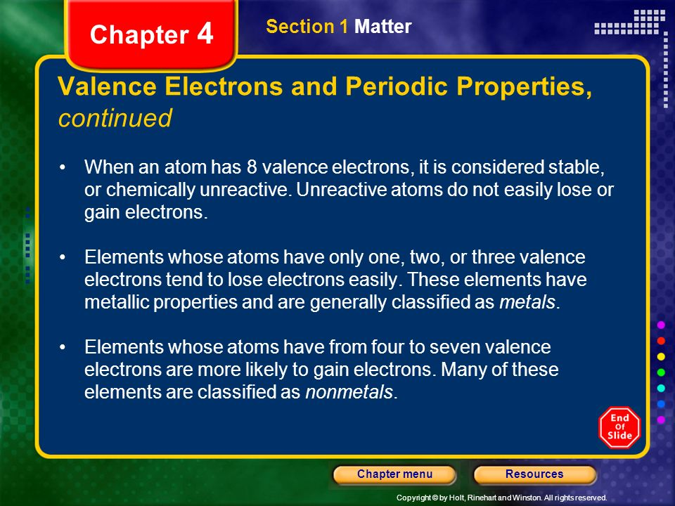 Valence Electrons and Periodic Properties, continued