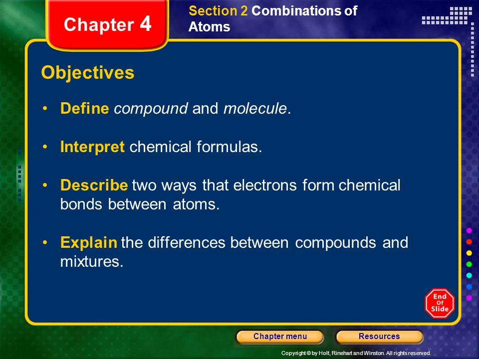 Chapter 4 Objectives Define compound and molecule.