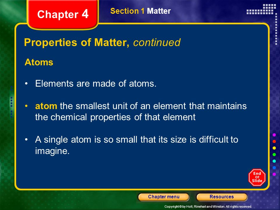 Properties of Matter, continued
