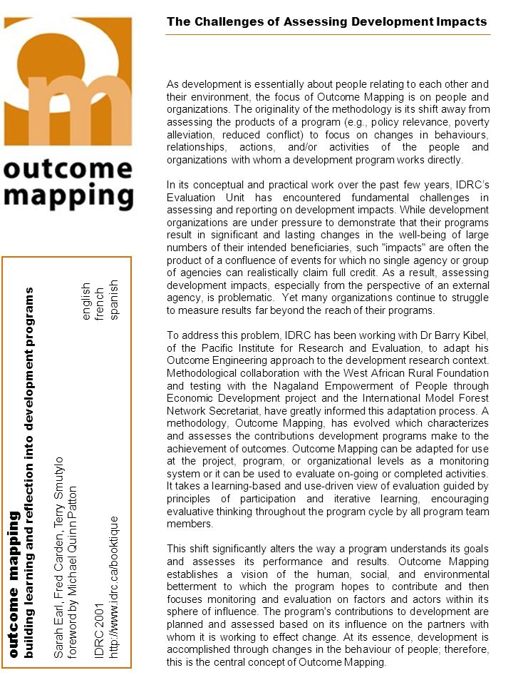 outcome mapping The Challenges of Assessing Development Impacts