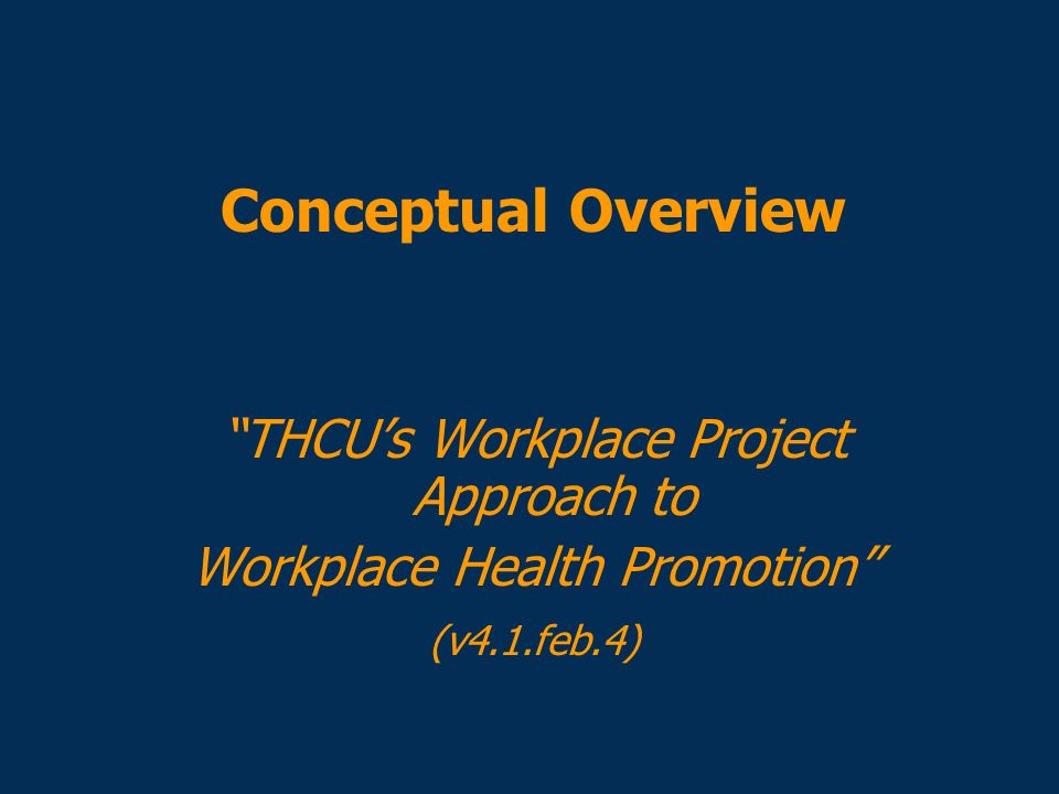 Conceptual Overview THCU's Workplace Project Approach to