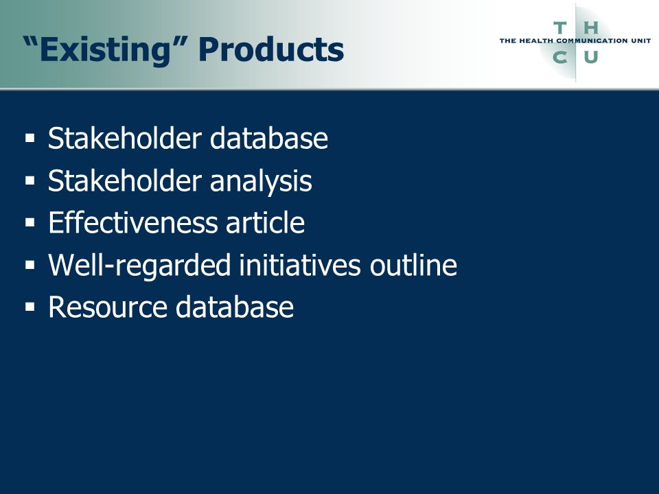 Existing Products Stakeholder database Stakeholder analysis