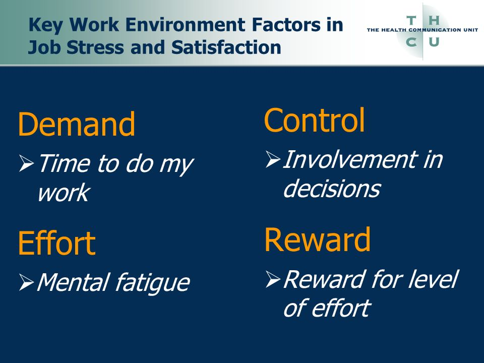Key Work Environment Factors in Job Stress and Satisfaction