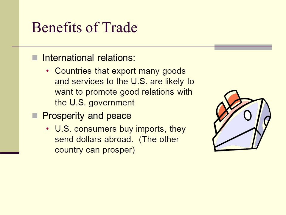 Benefits of Trade International relations: Prosperity and peace