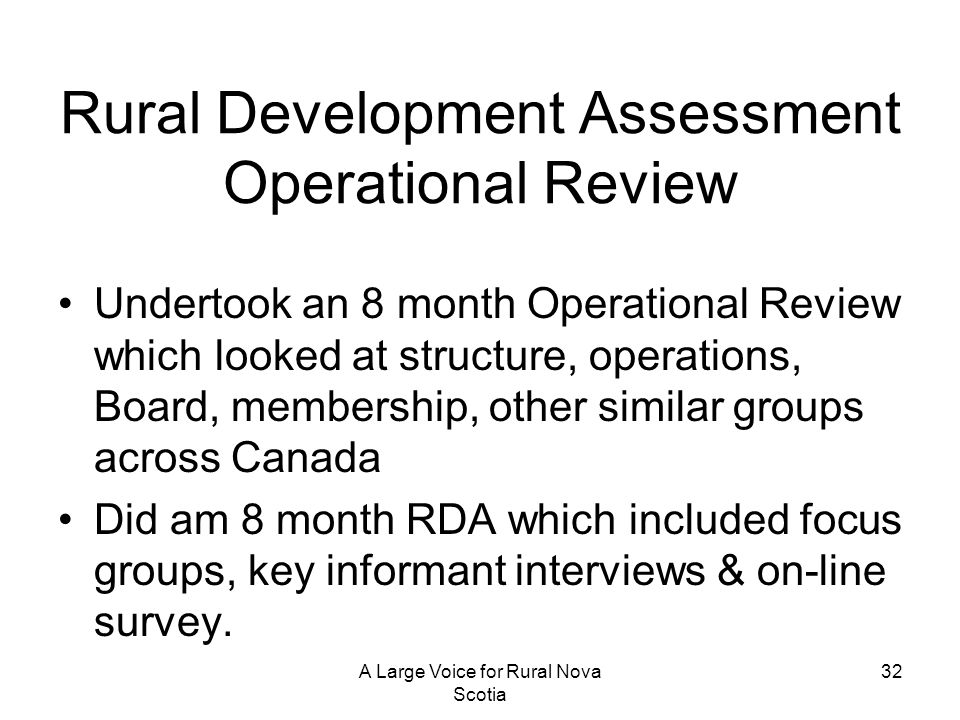 Rural Development Assessment Operational Review