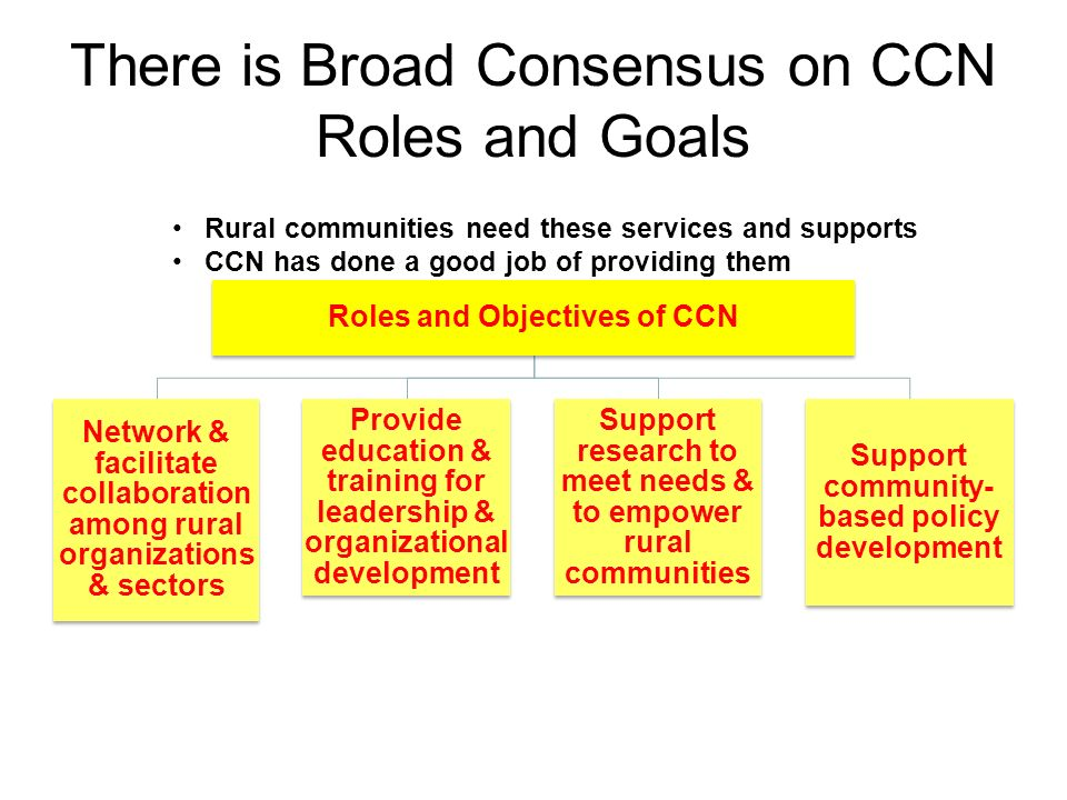 There is Broad Consensus on CCN Roles and Goals