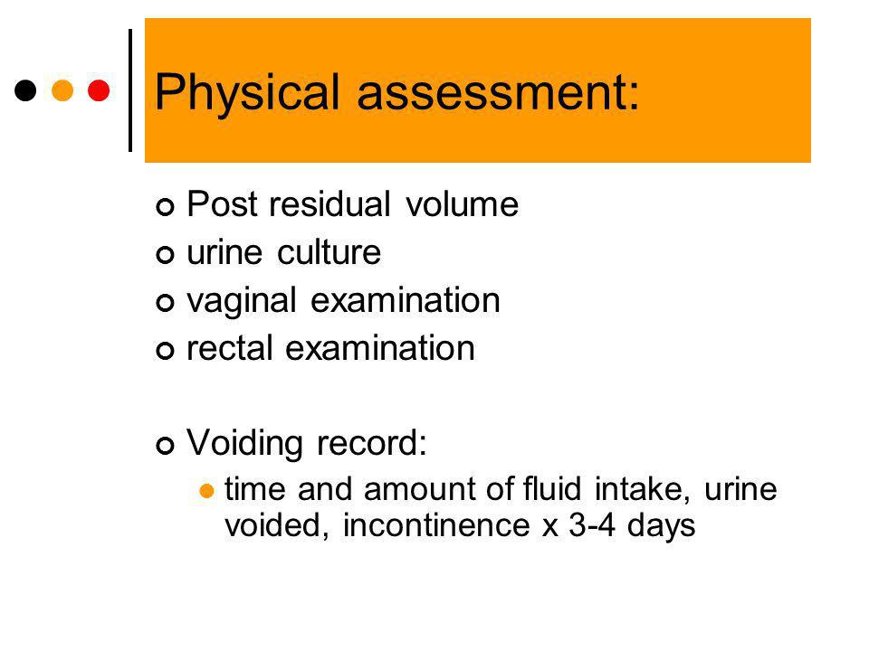 Physical assessment: Post residual volume urine culture
