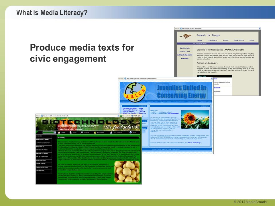Produce media texts for civic engagement