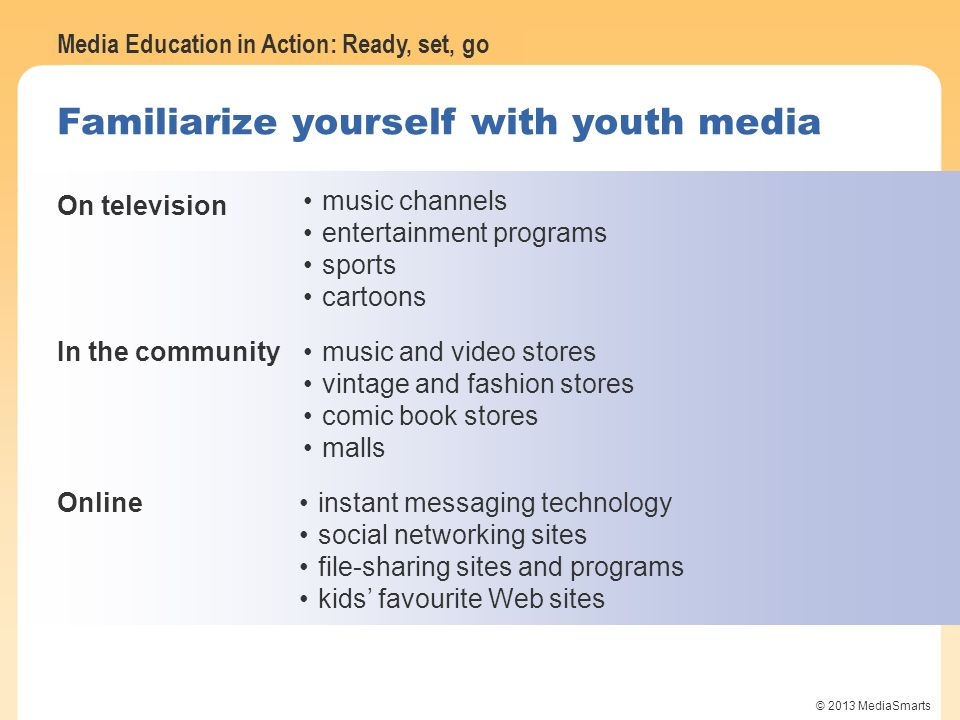 Familiarize yourself with youth media