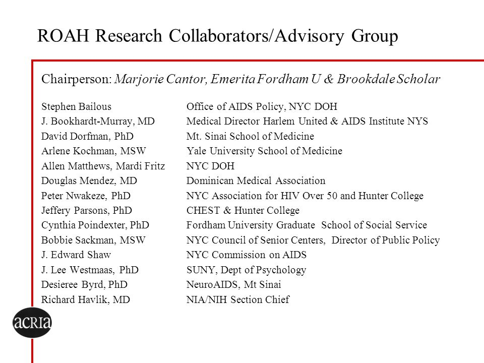ROAH Research Collaborators/Advisory Group