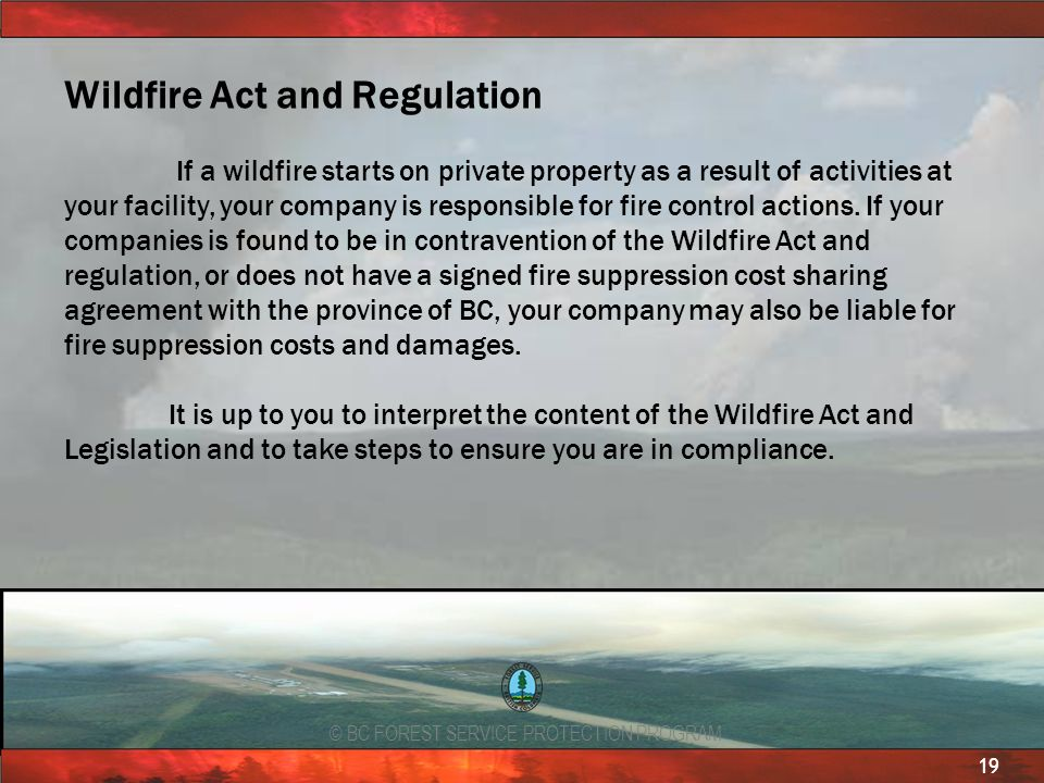 Wildfire Act and Regulation