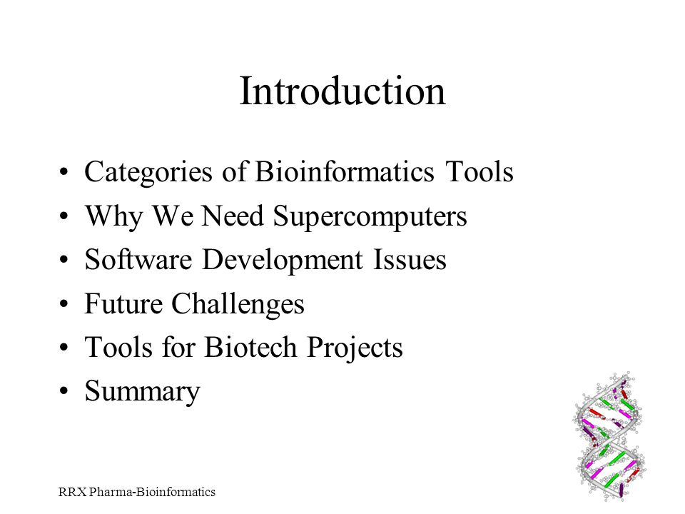 Introduction Categories of Bioinformatics Tools