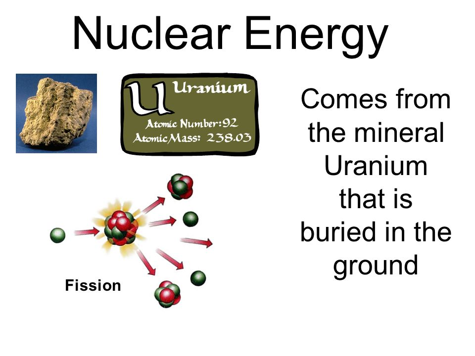 Comes from the mineral Uranium that is buried in the ground