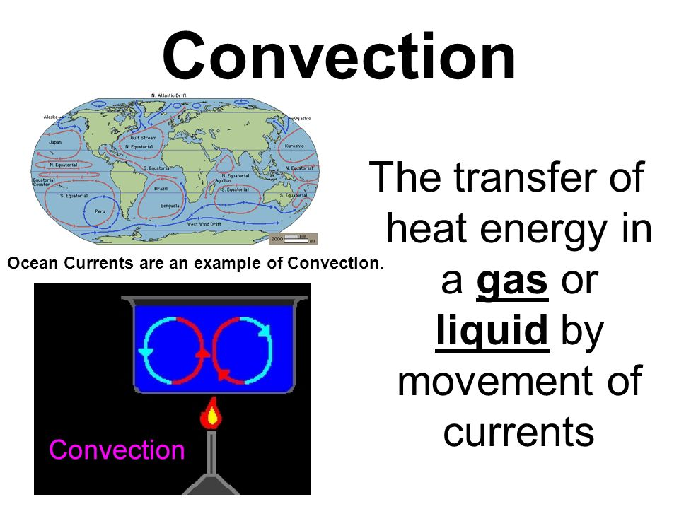The transfer of heat energy in a gas or liquid by movement of currents