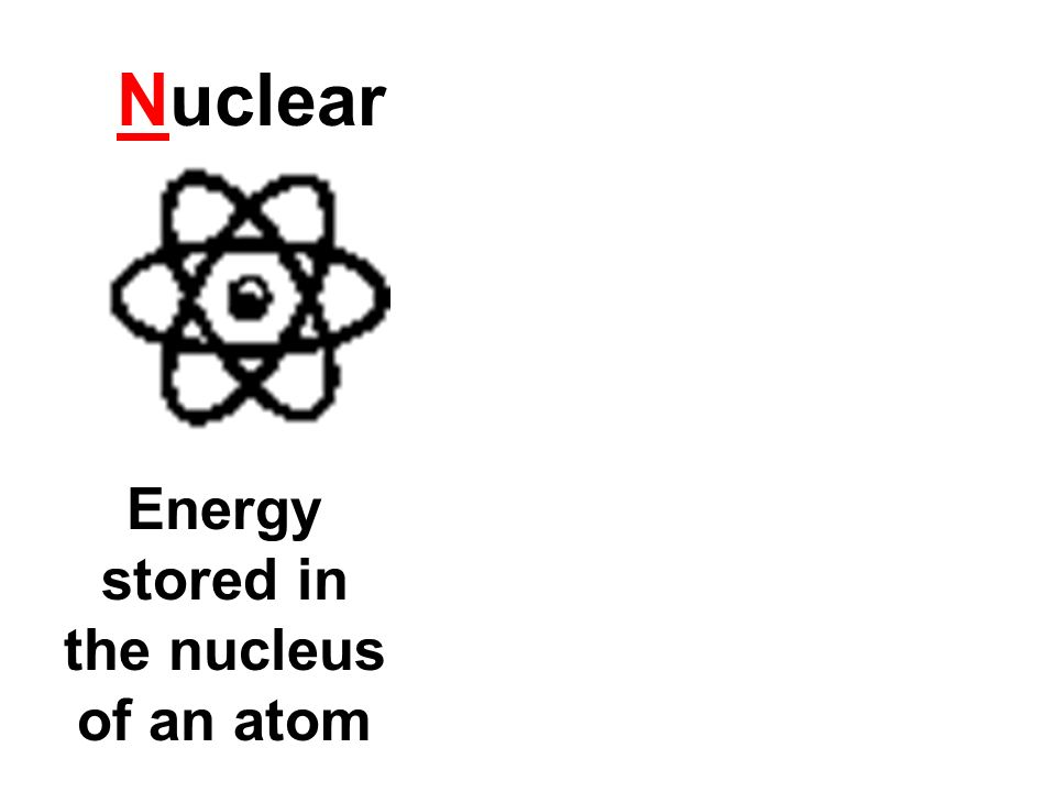 Energy stored in the nucleus of an atom