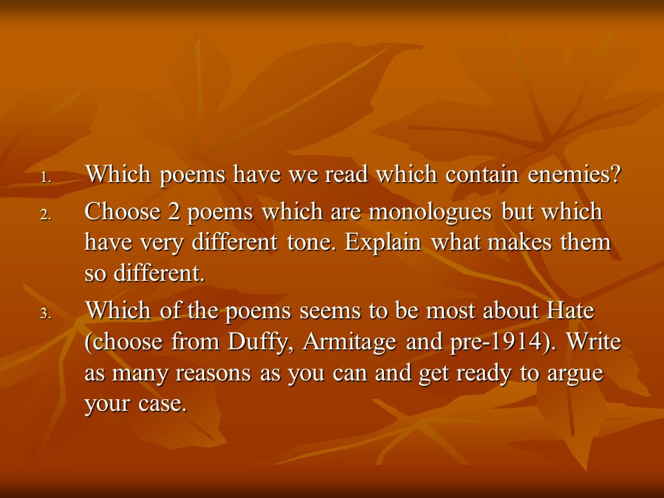 Lit poems Learning objectives: Revise poetic terms Analyse a new poem