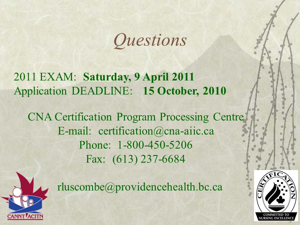 Questions 2011 EXAM: Saturday, 9 April 2011