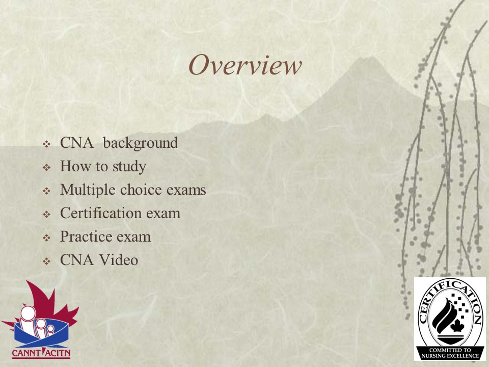 Overview CNA background How to study Multiple choice exams