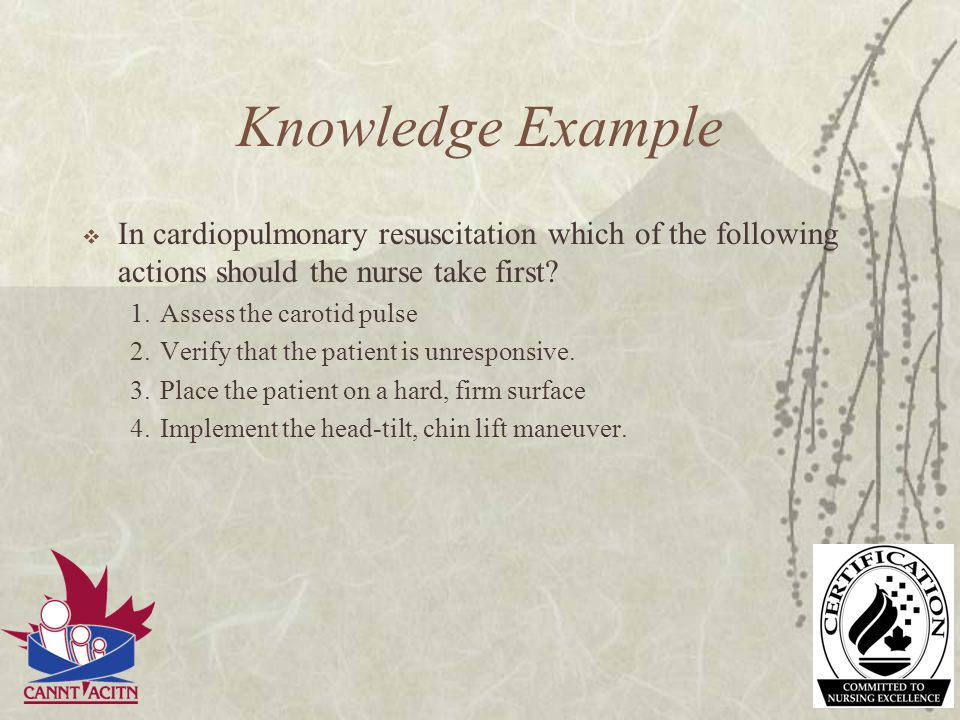 Knowledge Example In cardiopulmonary resuscitation which of the following actions should the nurse take first